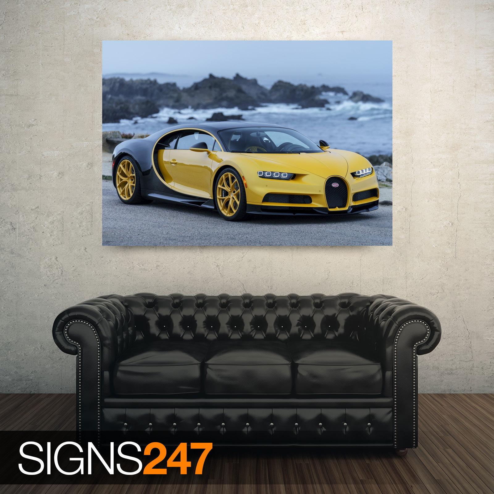 BUGATTI-CHIRON-2018-YELLOW-AD754-CAR-POSTER-Poster-Print-Art-A0-A1-A2-A3
