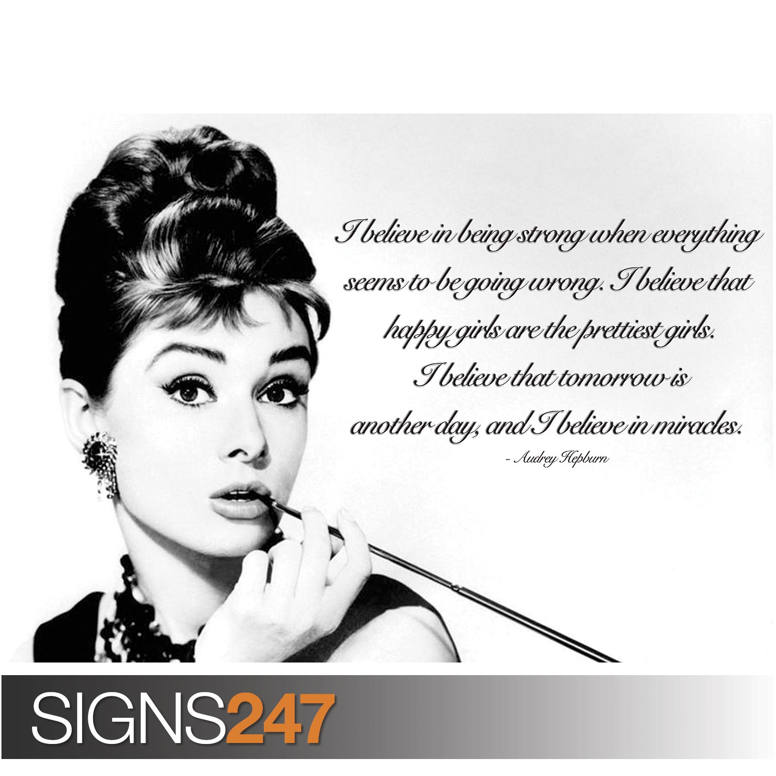 audrey hepburn poster inspiration quote 1024 poster print art a0 a1 a2 a3 a4 ebay. Black Bedroom Furniture Sets. Home Design Ideas