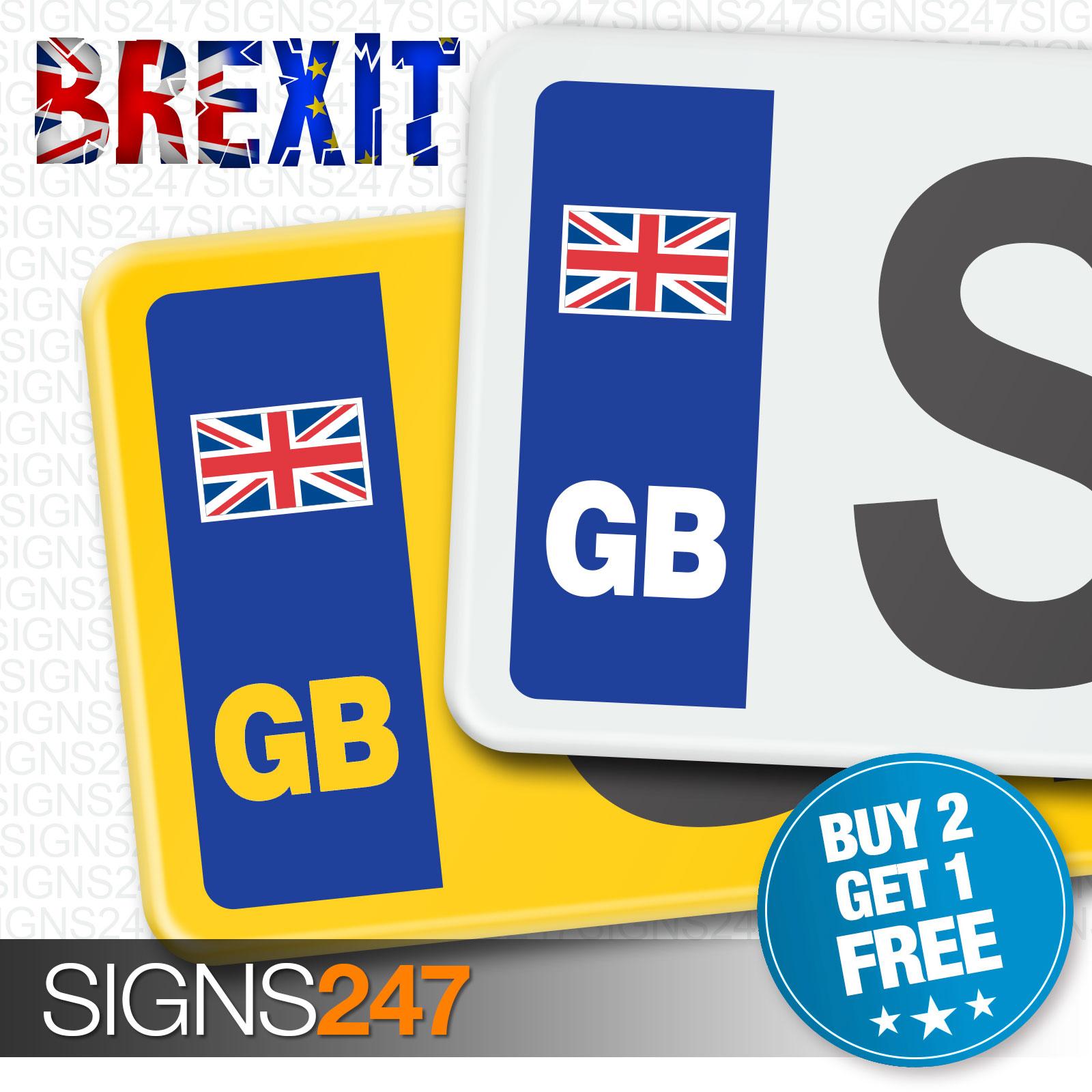 Gb Car Number Plate Stickers Union Jack No Eu Flag Brexit