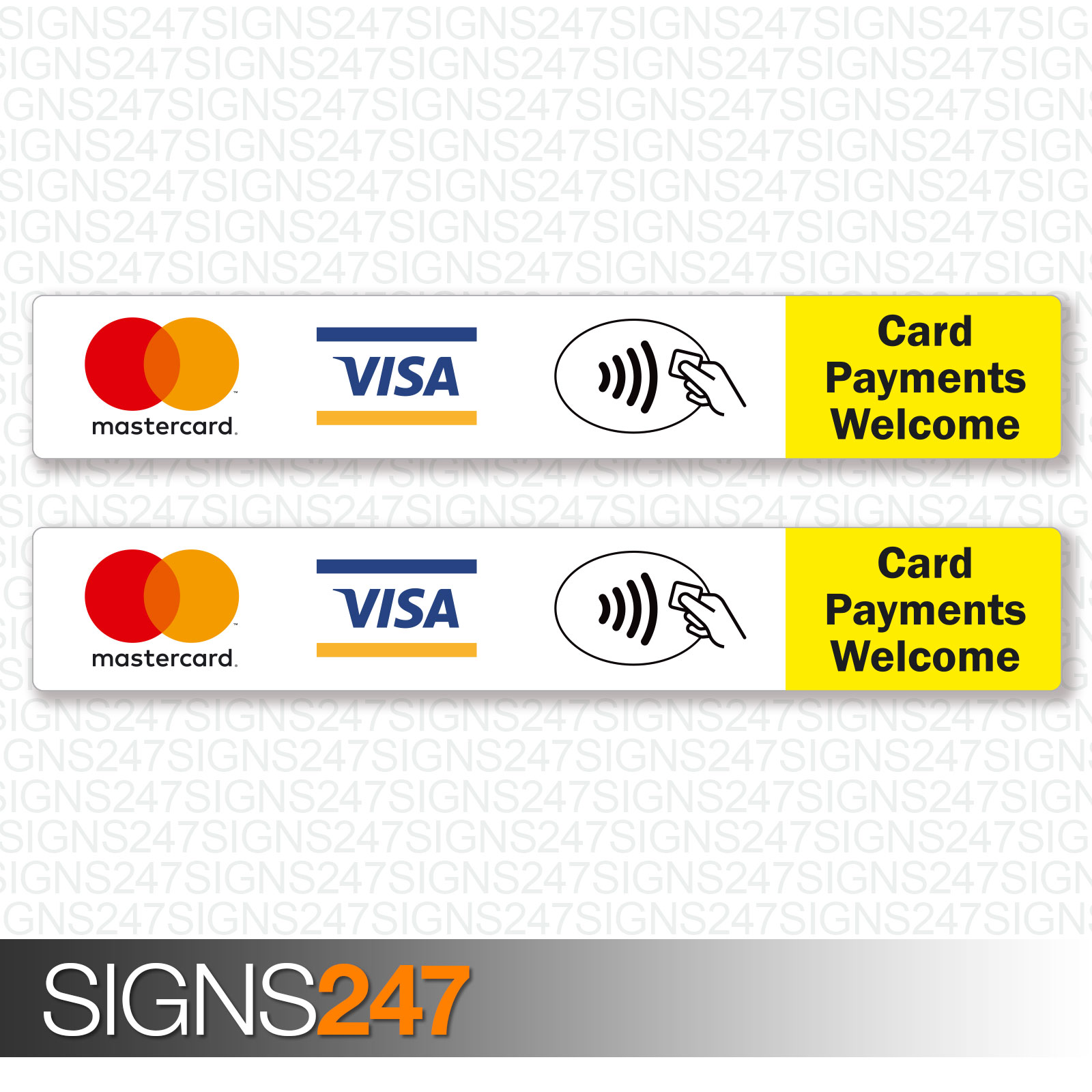 2x Card Payments Welcome Stickers MasterCard VISA