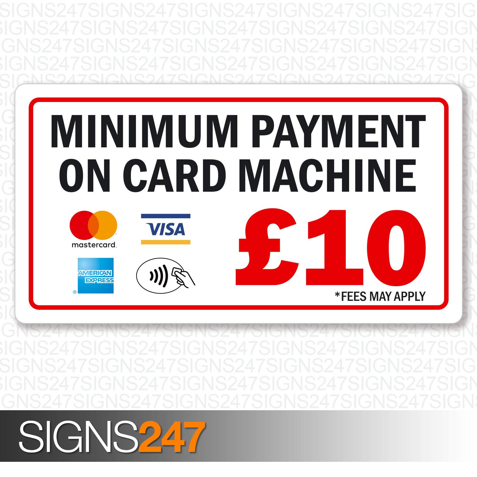 Minimum Payment £10 Sticker Mastercard AMEX Visa