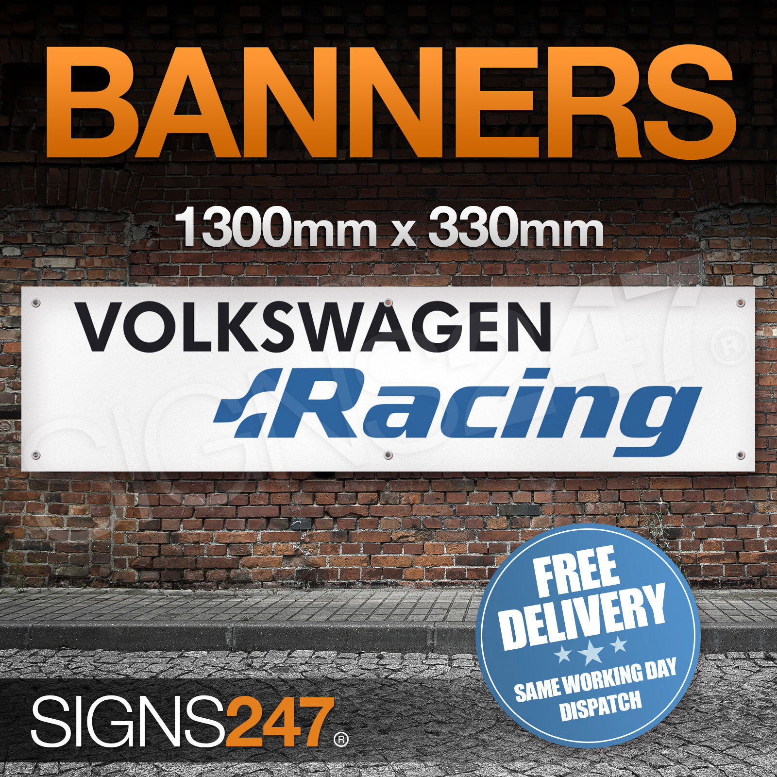 Volkswagen racing garage workshop pvc banner sign car